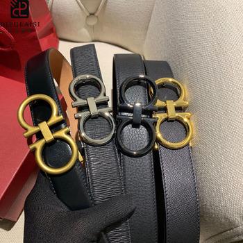 2020 gorąca sprzedaż nowy Dipulaisi męska pas Business Casual 8 słowo klamra ekskluzywne luksusowe spodnie jeansowe pas jednolity kolor Cowskin tanie i dobre opinie Dla dorosłych 3 5cm Na co dzień Stałe 8 7cm F007 Pasy 4 1cm black Brown Genuine Leather High-quality materials 8 letter buckle