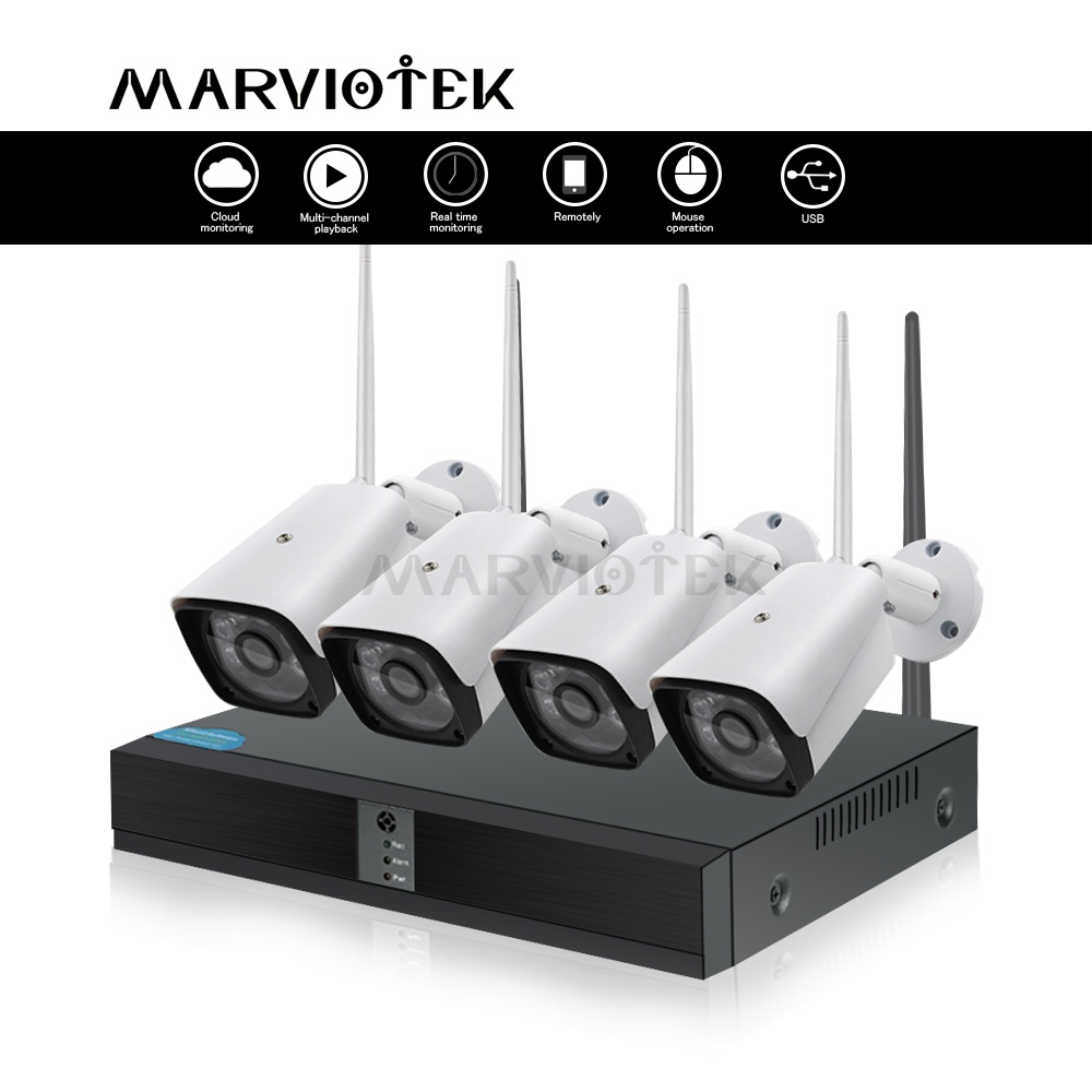 4CH 1080P Wireless Home Security Camera System IP Camera WiFi DVR Kits CCTV Camera System Outdoor Video Surveillance 4 Cameras