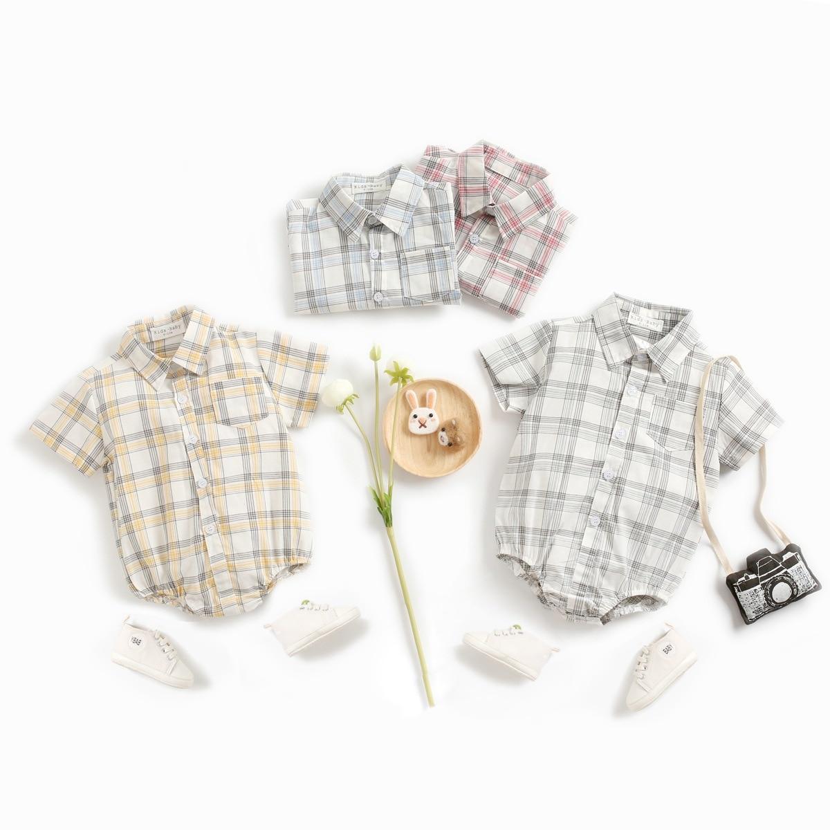 2020 летняя новая одежда для маленьких мальчиков, боди для новорожденных, повседневная одежда в клетку с короткими рукавами из чистого хлопка...