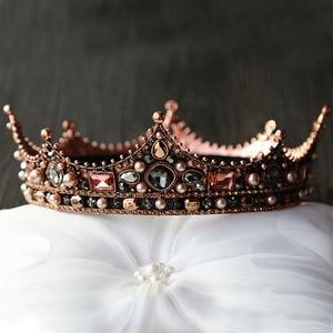 Image 1 - Forseven jóias de cabelo nupcial cheia círculo contas pérola tiaras coroas diadem headpiece feminino casamento acessórios para cabelo jl