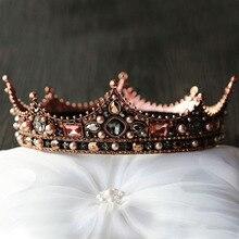 Forsevenブライダル髪の宝石フルサークルビーズパールクリスタルティアラ王冠王冠かぶと女性ウェディングヘアアクセサリーjl