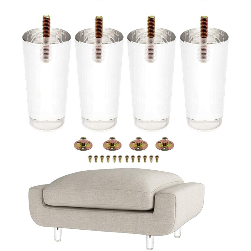 4PCS 4 Inch/100Mm Furniture Feet Acrylic Bench Legs Sofa Legs Modern Cabinet Cupboard Coffee Table Legs Couch Feet Storage Shelv