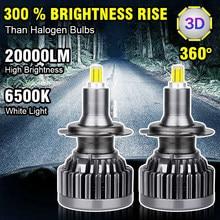 H11 led h7 led 20000lm h1 h8 hb3 9005 hb4 9006 carro faróis led lâmpadas 6 lados 3d de alta potência 360 graus nebbia auto nevoeiro lâmpada 12v