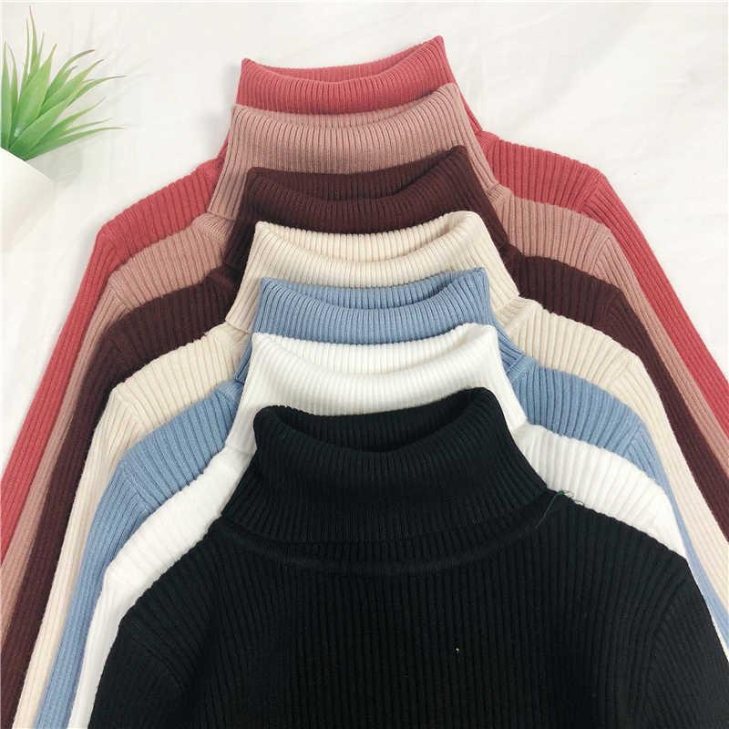 Sweter z dzianiny damskie cukierki kolor z golfem luźna jesień zima koreańska wersja sweter kobiet wąski sweter najniższy koszulę
