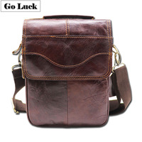 GO LUCK Brand Hot Sale Genuine Leather Top handle Handbag Men's Crossbody Shoulder Bag Men Messenger Bags Ipad Mini Pack