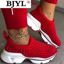 2020 Sock Sneakers Flat Shoes Women Shoes Slip on Platform Sneakers Women Casual Black Rivet Breathable Mesh Sock Sneakers Women crystal sneakers women sneakers with crystals women sock sneakers fashion sneakers women boots sneakers women wk85