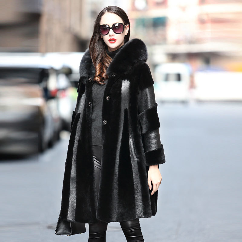 Coat Winter Women Double Faced Real Fur Coat Female Fox Fur Collar Real Leather Jacket Luxury Natural Wool Coats 4xl MY S