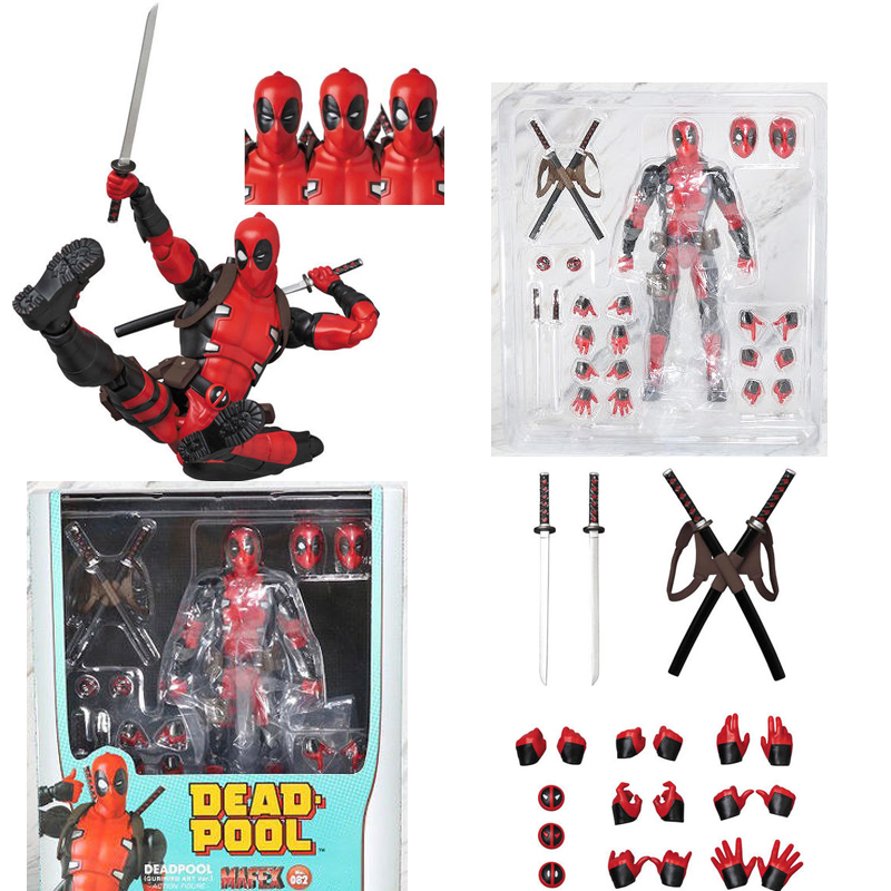 3 Heads New Mafex 082 Deadpool Comic Version Action Figure Model Toy Gift for Christmas image