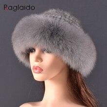 women Real mink Fur Bomber Hats winter Genuine Fox fur Cap L