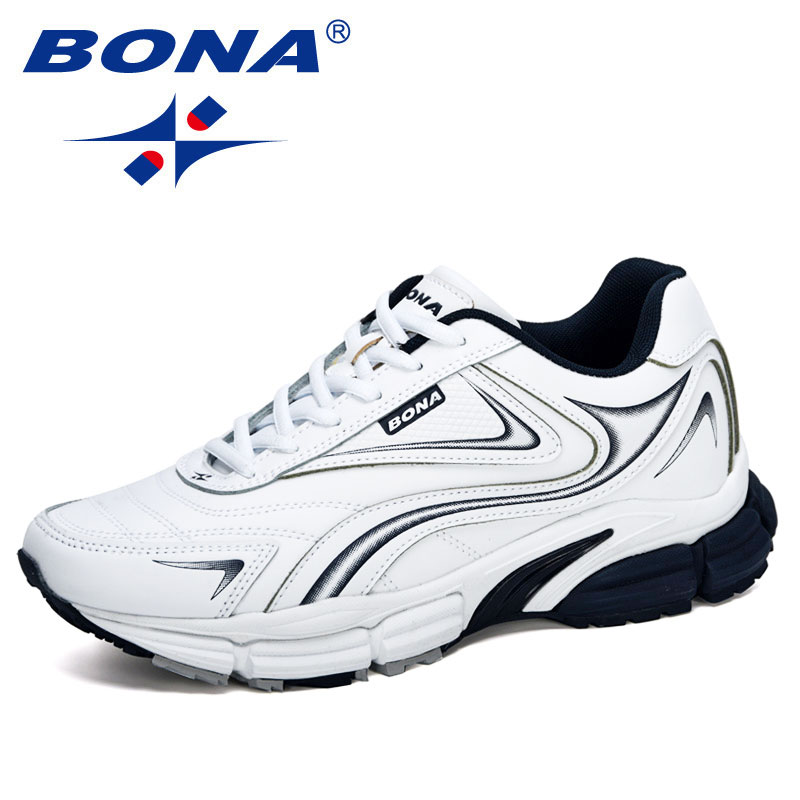 BONA 2020 New Designers Action Leather Sneakers Shoes Men Outdoor Casual Shoes Man Trendy Leisure Footwear Male Walking Shoes