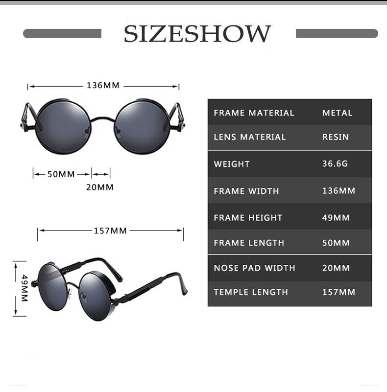 Classic Gothic Steampunk Sunglasses Sun Glasses Men Women Brand Designer  Vintage Round Glasses  Fashion Driving Goggle UV400 2
