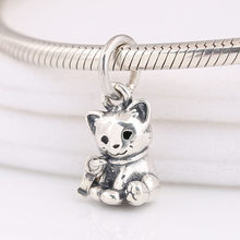 Authentic 925 Sterling Silver Enamel Sweet Cat Animal Pendant Hanging Bead Charm for Women Bracelet Bangle DIY Jewelry(China)