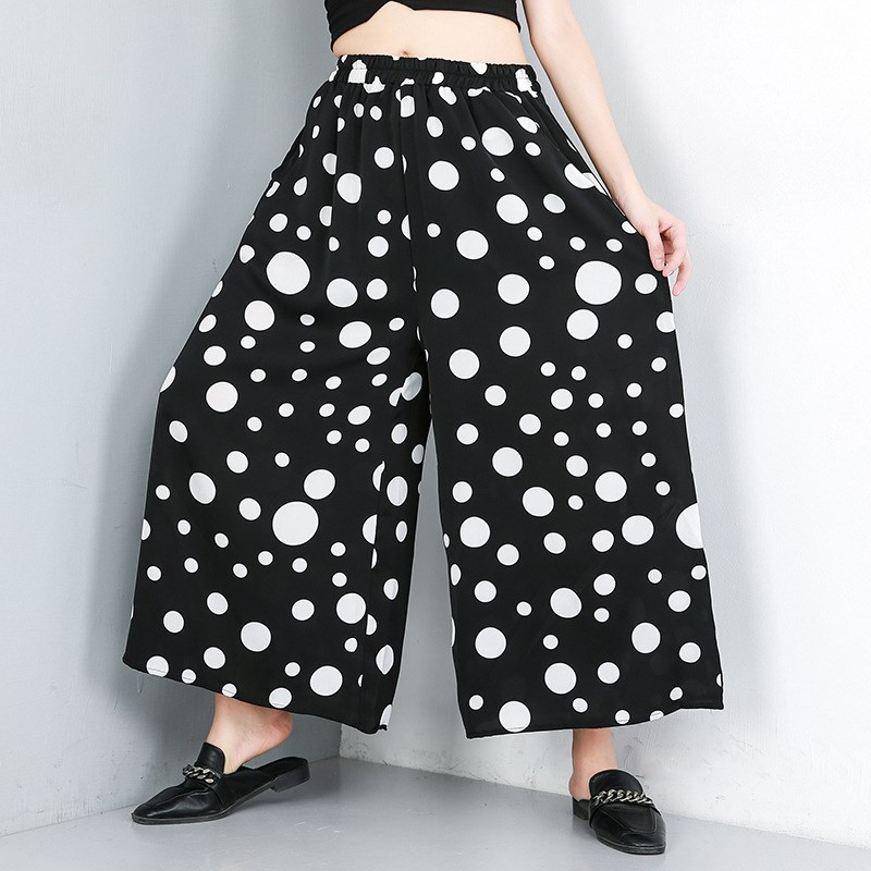 Women High Elastic Waist Black Dot Printed Trousers Leisure Loose   Wide     Leg     Pants