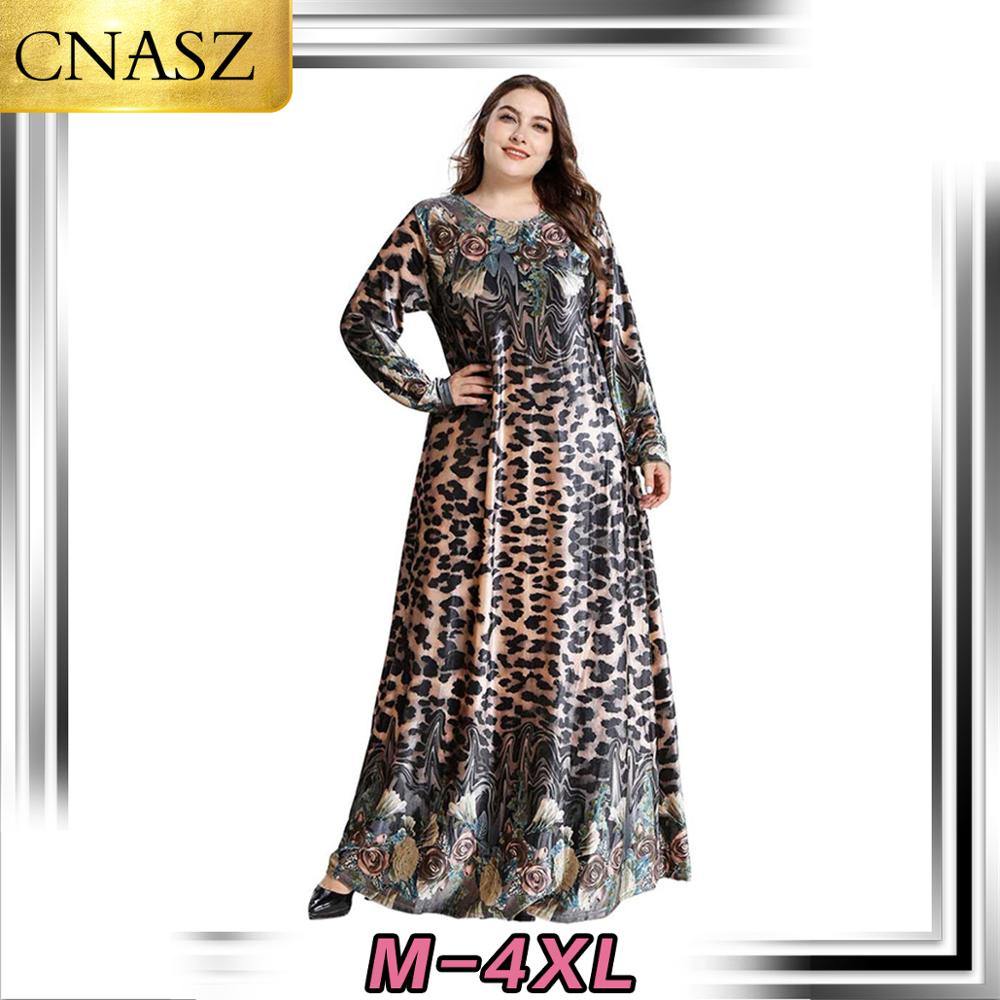 Muslim Dress Islamic Turkey Plus Size Women's Dubai Fashion Gold Velvet Plant Print Long Sleeve Dress Middle East Pakistan Skirt image