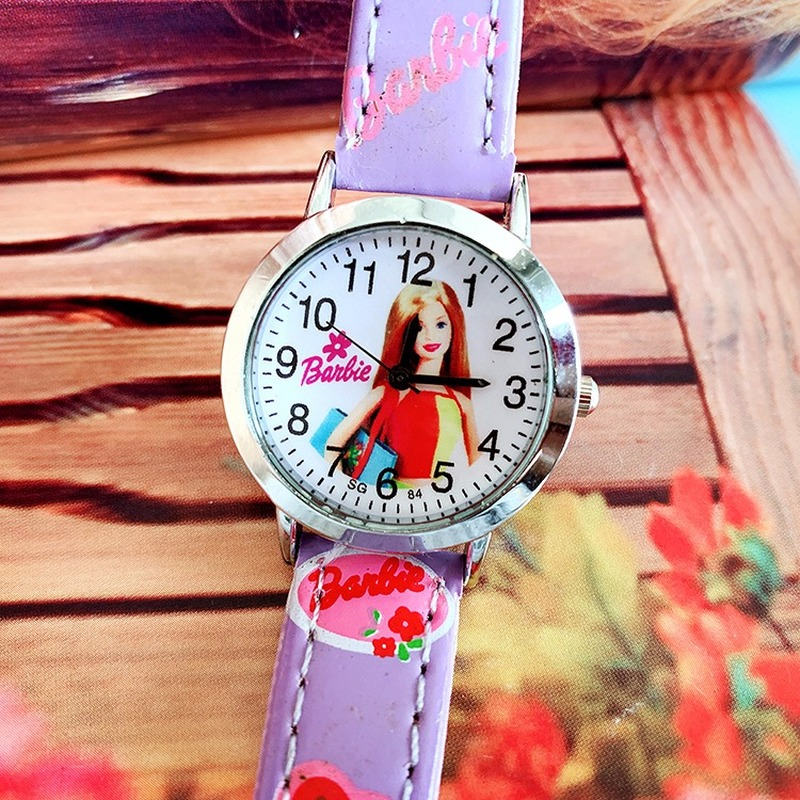 The New Lovely Children Cartoon Quartz Watch Barbie Doll Belt Girls Watch