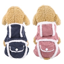 Winter Warm Dog Clothes Coat Pets Corduroy Jumpsuit Pet Outfit with Buttons and Pocket for Small Dogs