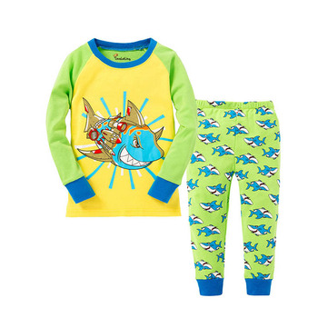 100 Cotton Boys and Girls Long Sleeve Pajamas Sets Children's Sleepwear Kids Christmas Pijamas Infantil Homewear Nightwear - P035, 3T