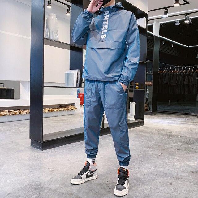 2021 Workwear jacket men's Hooded Jacket+Pants 2PC Sets  baseball  loose Pullover coat & Long Pants Mens Clothing 3