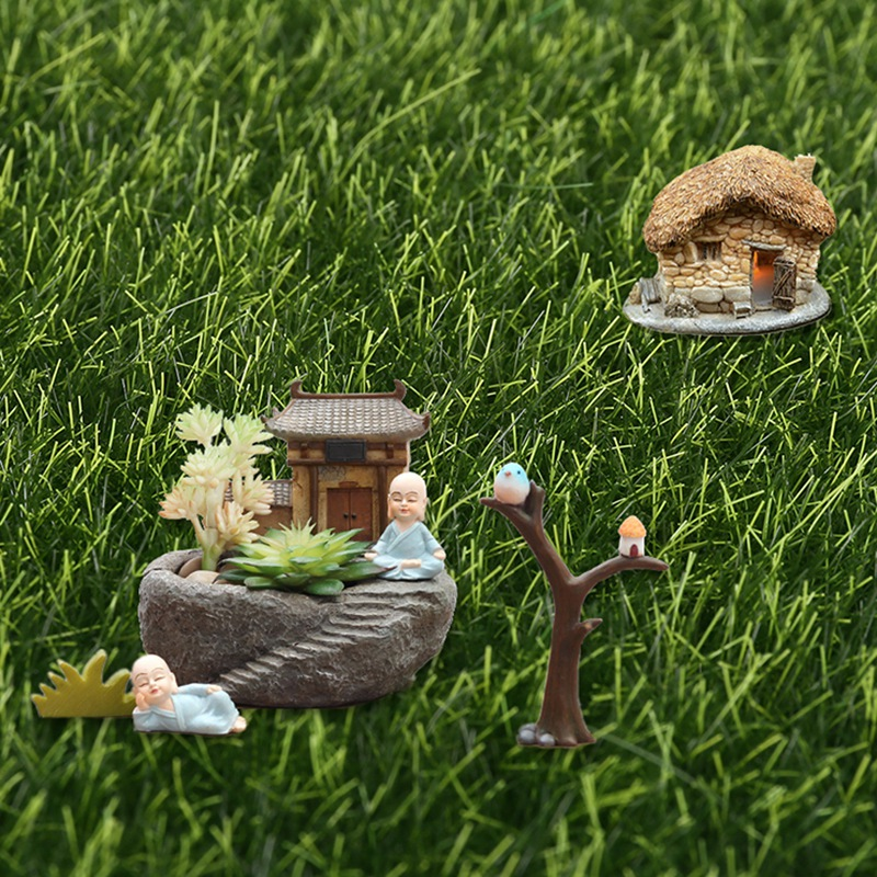 WSFS Hot 6Pcs Green Artificial Lawn Grass Miniature Garden Ornament DIY Pot Fairy Fake Moss For Wedding Party Yard Floor Decor S