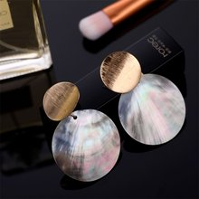 New Fashion Round Shell Clip Earrings Without Piercing Metal Geometric Earrings for Women Gilrs Ladies Statement Jewelry(China)