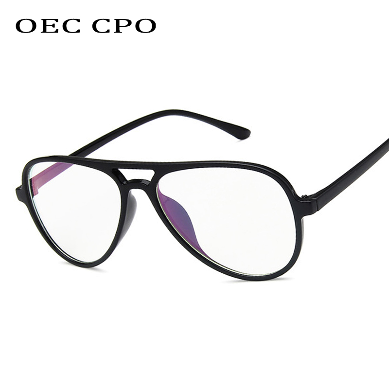Fashion Vintage Clear Lens Glasses Unisex Oval  Eyewear Pilot Aviation Eye Glass Optical Glasses Frame Transparent Lens O408