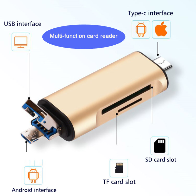 Type-c Card Reader Usb3.0 High Speed U Disk Small Mini Multifunction Otg Mobile Phone Card Reader Aluminum Alloy