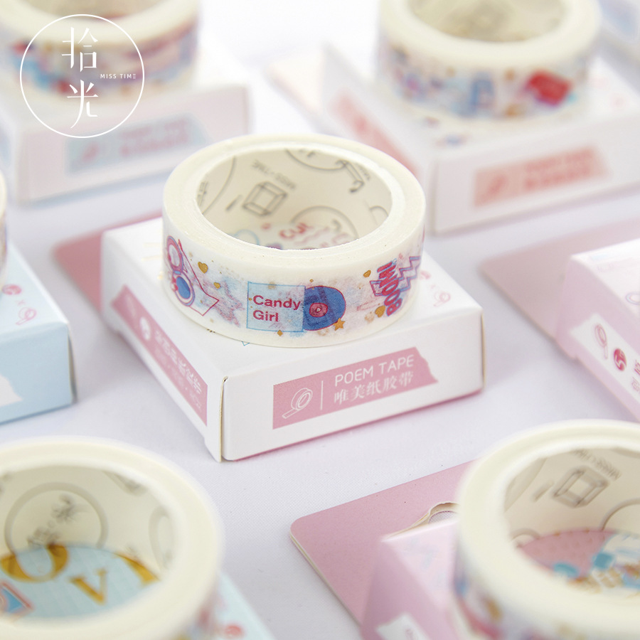 1 PCS Washi Tape Hot Stamping Washi Tape Masking Tape Cute Cartoon Pattern Washi Tape Diary Album Journal Decoration Stickers