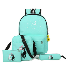 Fashion School Bags For Girls Backpack 4pcs/set Children Can