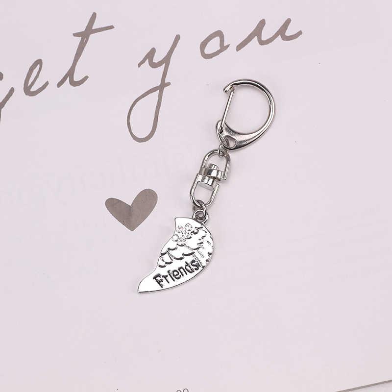 DIY Keychain לנשים ילדה קריסטל אגף לב בצורת פאזל תליון אביזרי Keychain קסם זוג תכשיטי מתנה Dropshipping