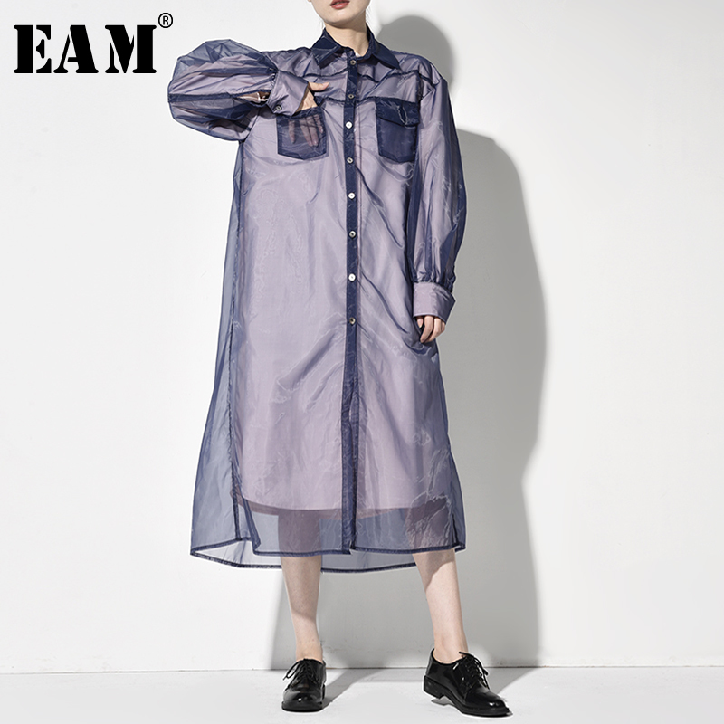 [EAM] Women Organza Split Joint Long Trench New Lapel Long Sleeve Loose Fit Windbreaker Fashion Tide Autumn Winter 2019 JO3461