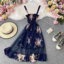 OCEANLOVE 2020 Malha Estilo Floral Vestido De Verão Praia Chiffon Vestidos Robes Sexy Vinatge Moda Coreana Elegante Vestidos Mulheres 17160