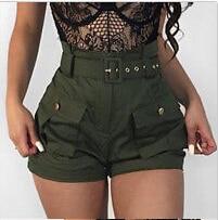 Summer Women High Waist Short Belt Solid Color Button With Pocket Short Pants