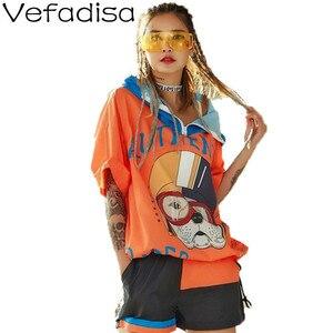 Vefadisa kreskówka pies drukuj kobiety T-shirt 2020 lato zamek pół rękawa luźny Top bluza z kapturem Plus rozmiar kobiet T-shirt Casual ZLD809