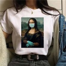 2020 mona lisa máscara impressão camiseta feminina verão manga curta t o-pescoço kawaii tshirt feminino streetwear harajuku roupas de moda