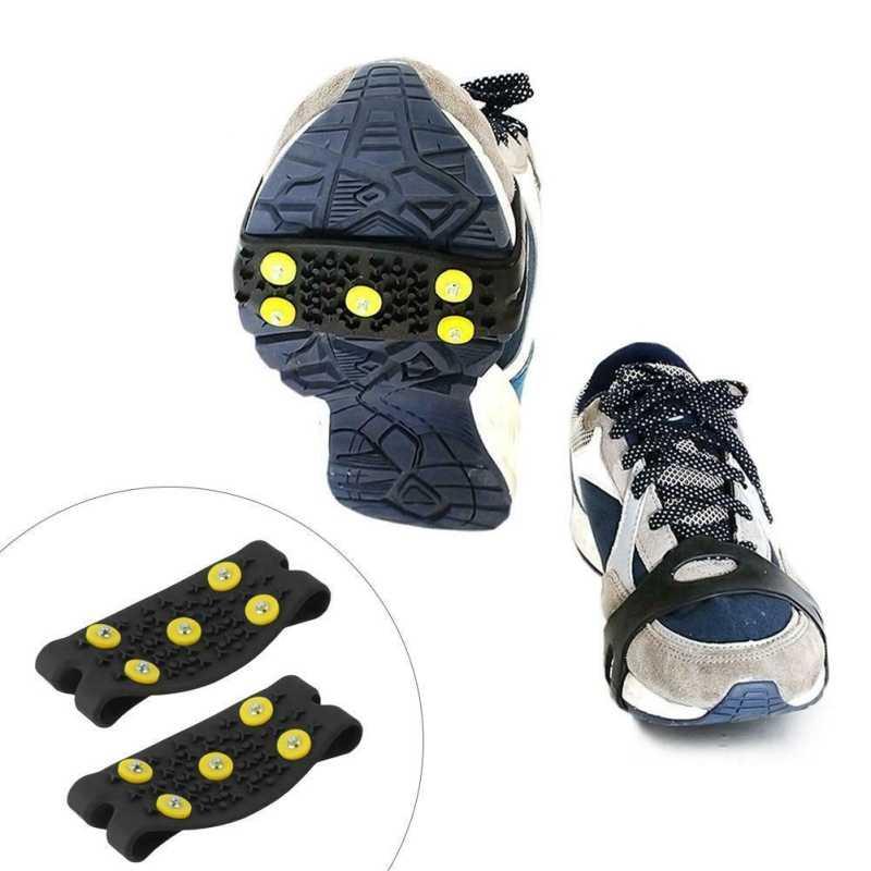 1 Pasang Salju Mendaki Gunung Anti Slip Spike Genggaman Crampon Berjalan Es Cleat 5-Stud Sepatu Bot Sepatu Penutup