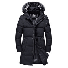 Long down jacket Winter Mens Coat New Style Cotton-padded Clothes Windbreaker Jacket Thick Hooded  708