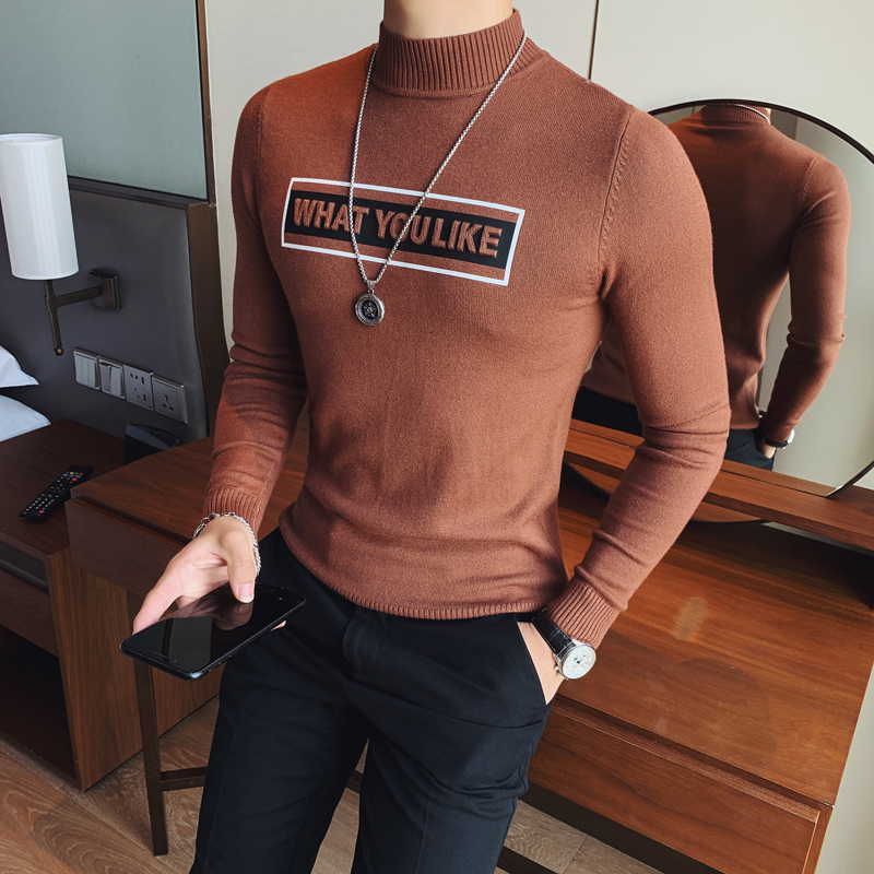 M-3XL Autumn Winter Letter Sweater Men Streetwear Slim Fit Embossing Mens Pullovers Warm Knitted Pull Homme Casual Men Sweater