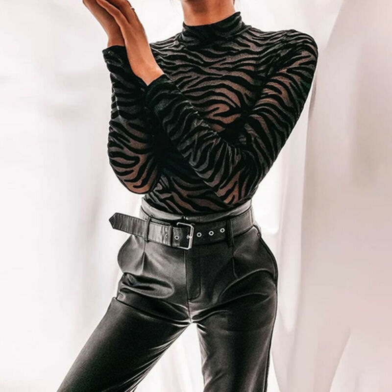 Brand New Women Sexy Perspective Bodysuits Long Sleeve High Ruched Neck Zebra Striped See-through Bodysuit Tops Jumpsuits