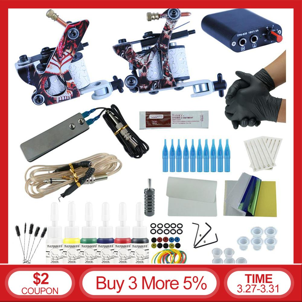 Complete Tattoo Machine Kit Set 2 Coils Guns 6 Colors Black Pigment Sets Power Tattoo Beginner Grips Kits Permanent Makeup