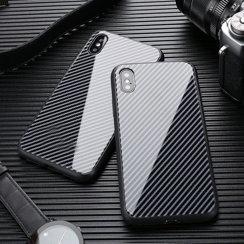 Gehärtetem Glas Auto <font><b>Logo</b></font> Fall für <font><b>IPhone</b></font> 11 pro max Xs XR X Telefon Fall Carbon Fiber Handy Fall für 7 8 6s Plus <font><b>IPhone</b></font> Fall image