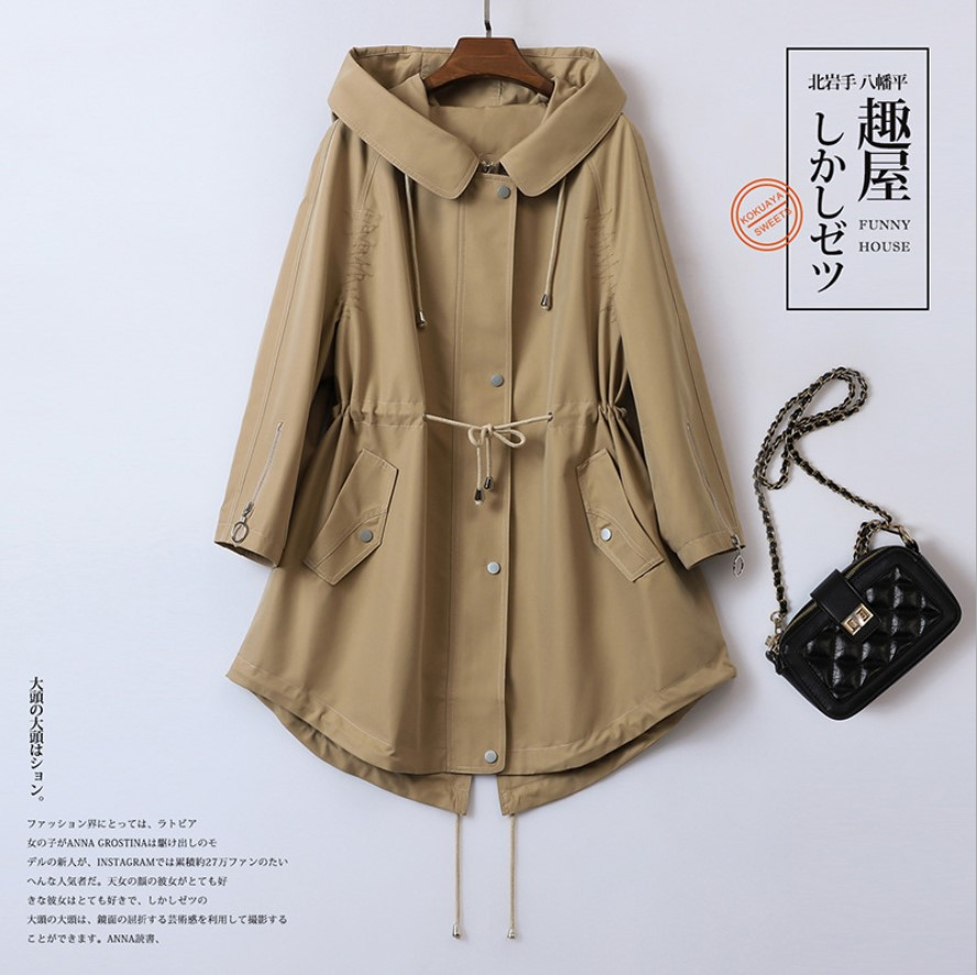2019 Women   Trench   Coat Mid-long Fashion Windbreaker Overcoat with Hood Solid Color Windproof Temperament Outerwear Coats