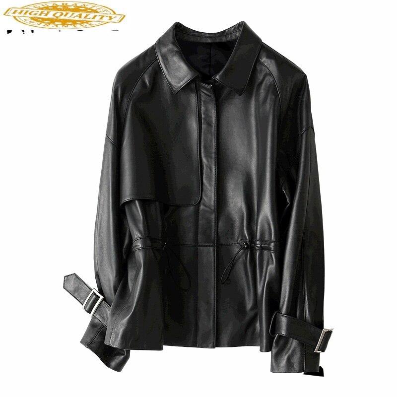 Fashion Natural Sheepskin Coats Short Genuine Leather Coat Female Autumn Spring Trench Jackets Women Real Leather 29104