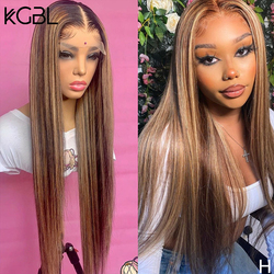 KGBL Highlight 13x6 Straight Lace Front Human Hair Wig 180% Density With Baby Hair Brazilian 8-24'' Non-Remy Wig Medium Ratio