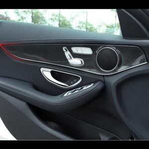For Mercedes Benz C class W205 2015-18 Carbon Fiber Style Car Door Panel Cover Trim 4pcs ABS Auto Interior Modified