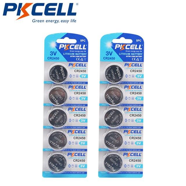 10 Pcs PKCELL CR2450 3 V CR 2450 DL2050 BR2450 แบตเตอรี่ลิเธียมแบตเตอรี่สำหรับรีโมทคอนโทรล LED light vibes เครื่องคิดเลขรถ