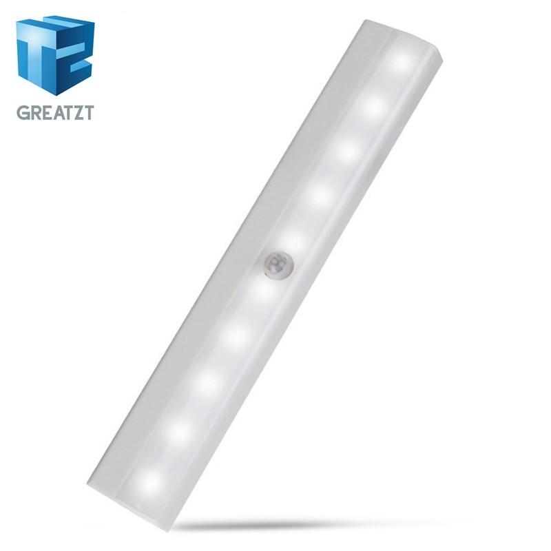 Motion Sensor lampka nocna Potable 10 Led oświetlenie do szafy zasilany z baterii na szafkę bezprzewodowa na podczerwień wykrywacz ruchu kinkiet
