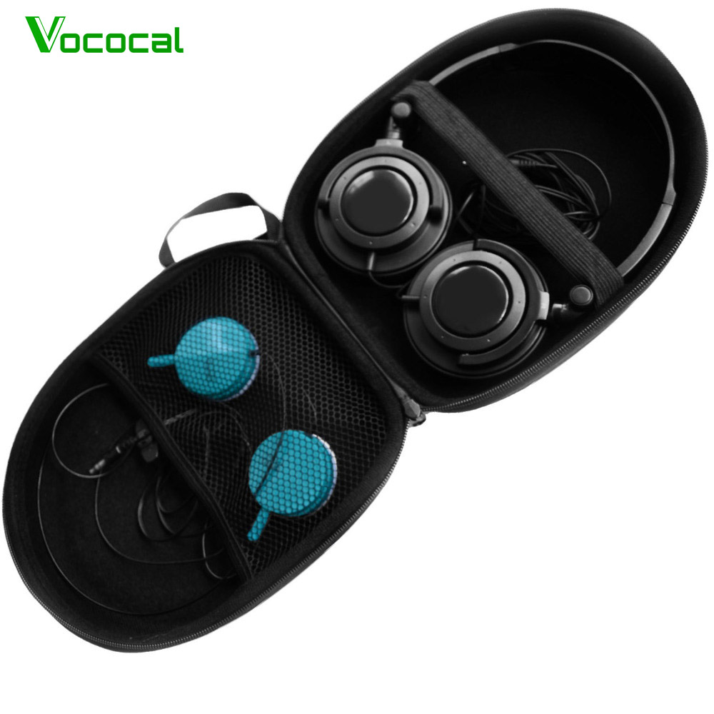 Vococal <font><b>Headphone</b></font> Cable EVA Storage Carrying Bag Case Box Pouch for Beats Bose Sony Philips Audio Technica JBL Sennheiser Grado image