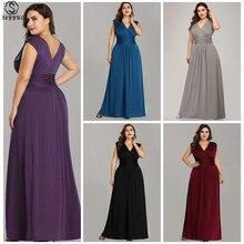 Skyyue Evening Dress V-neck Elegant Women Party Dresses Sleeveless Robe De Soiree Plus Size Pleat Floor Length Formal Gowns C430