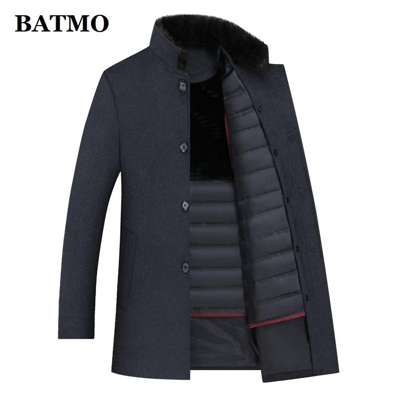 BATMO 2020 winter wool trench coat men,men's 90% white duck down wool jackets ,thicked wool coat men,plus-size M-4XL
