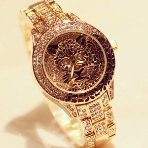 Image 1 - Women Watch Ladies Diamond Stone Dress Steel Leopard print Rhinestone Bracelet Wristwatch Tiger Crystal Watch relogio feminino